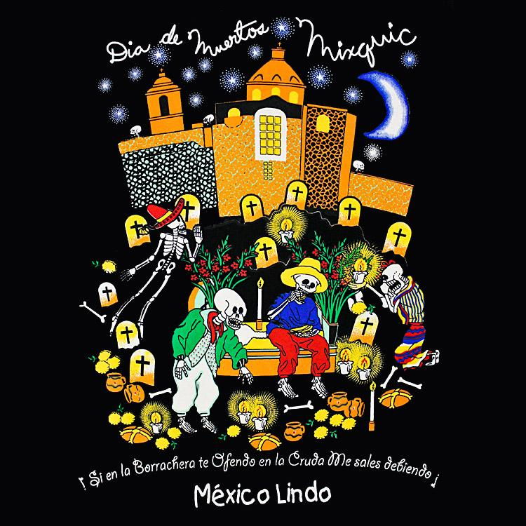 Day of the Dead Muertos Mixquic Black Large T-Shirt