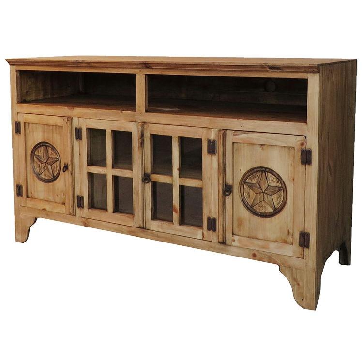 Rustic Pine Tall Tv Stand Product Photo