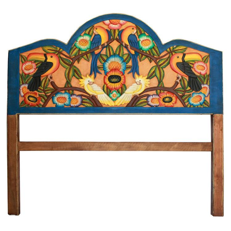 King Carved Headboard Tropical Birds Product Photo