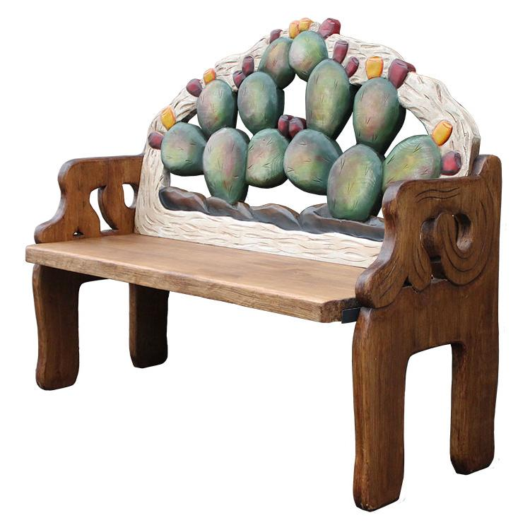 Rustic Cactus Carved Double Bench Product Photo