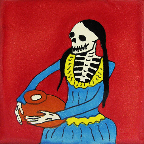 Artisan Red Hand-Painted Talavera Tile