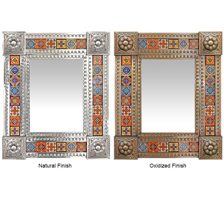 Small Talavera Tile Mirror - Oxidized Finish