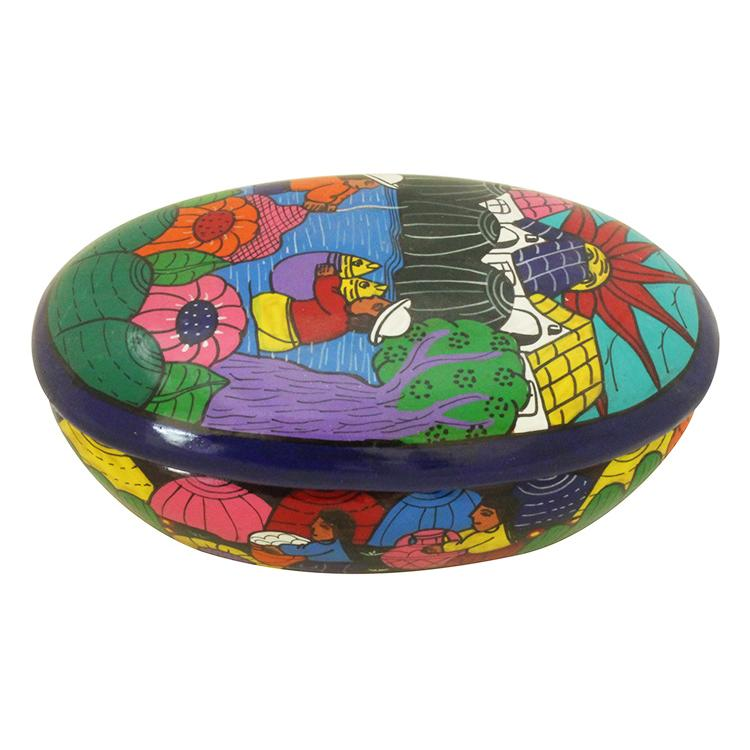 Hand Painted Clay Blue Oval Box