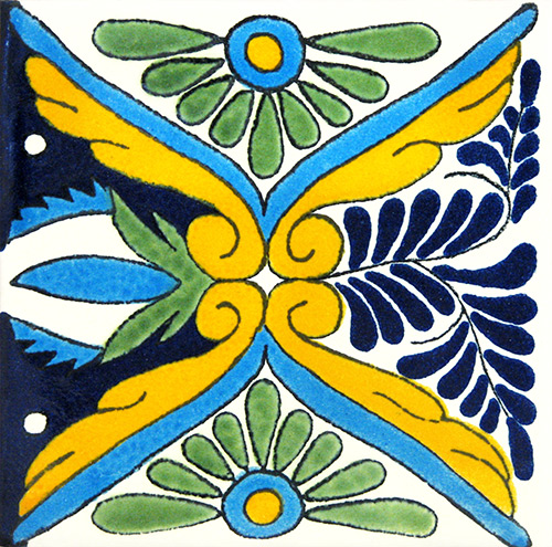 Rosaura Azul Hand-Painted Talavera Tile