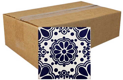 Lace Azul Hand-Painted Talavera Tiles (Box of 40)