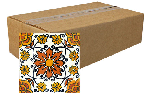 Enredadera Naranja Hand-Painted Talavera Tiles (Pack of 45)