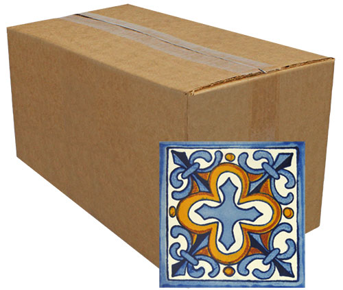Flor de Liz con Cruz Hand-Painted Talavera Tiles (Pack of 25)