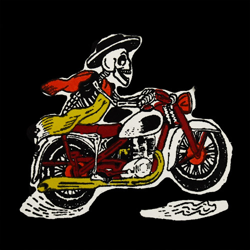 Motorcycle Black Hand-Painted Talavera Tile