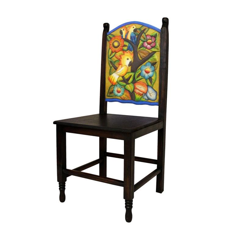 Rustic Carved Chair Wooden Seat Product Photo