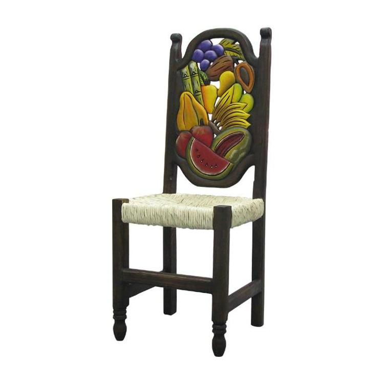 Fruit Carved Chair Woven Seat Product Photo