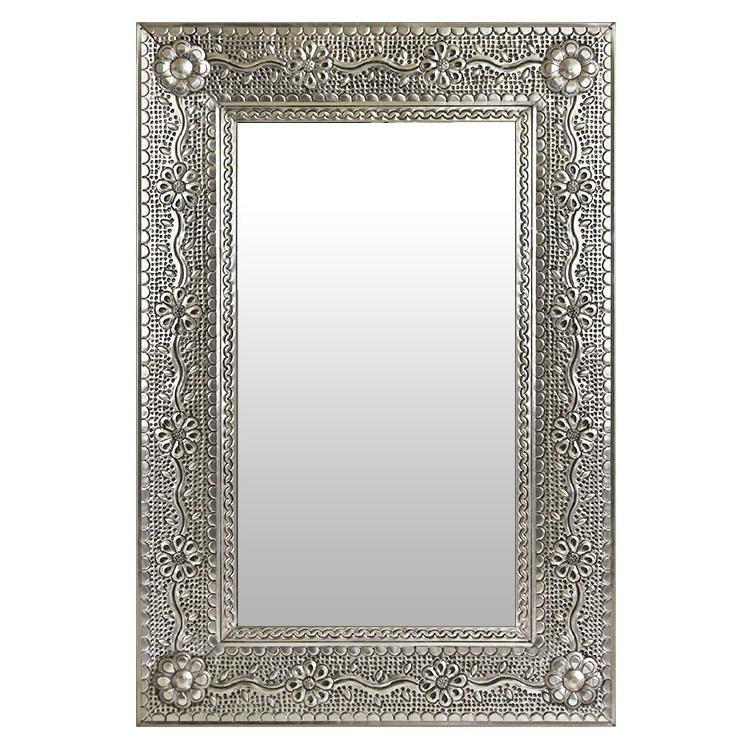 Medium Flower & Vines Tin Mirror - Natural Finish