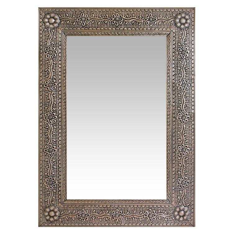 Flower Vines Tin Mirror Frame Oxidized Product Photo