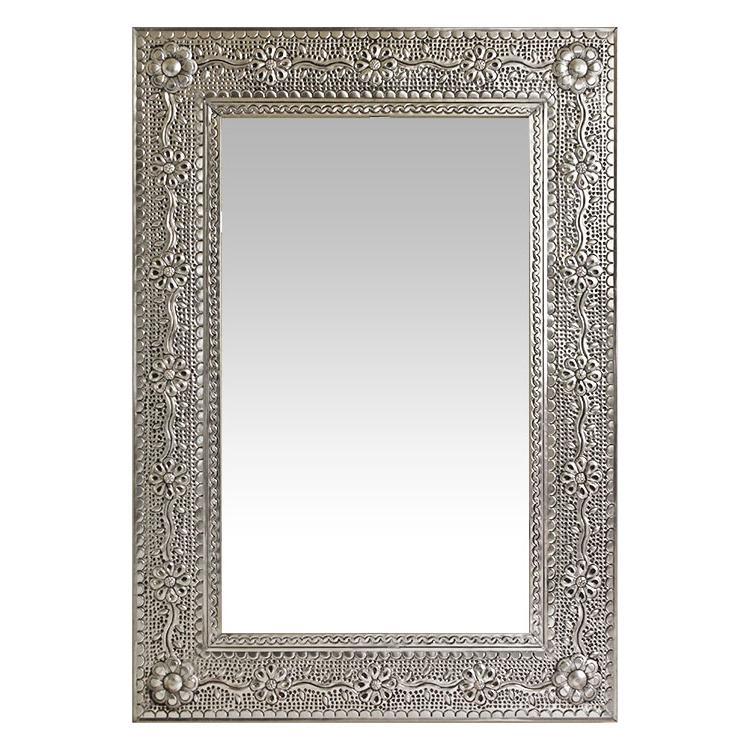 Large Flower & Vines Tin Mirror Frame - Natural Finish