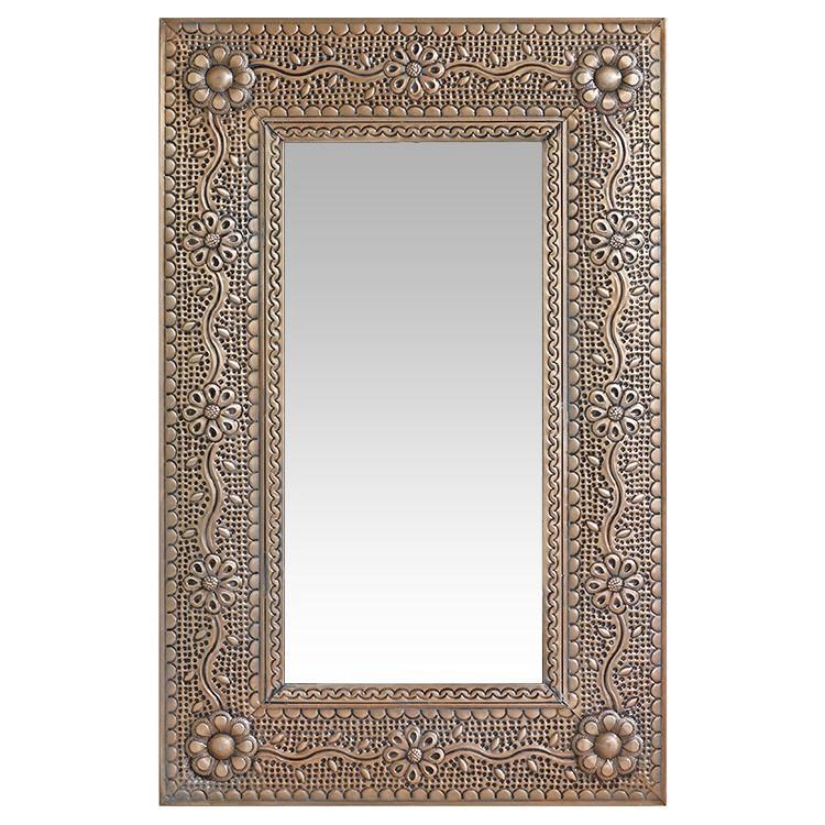 Flower Vines Tin Mirror Oxidized Product Photo
