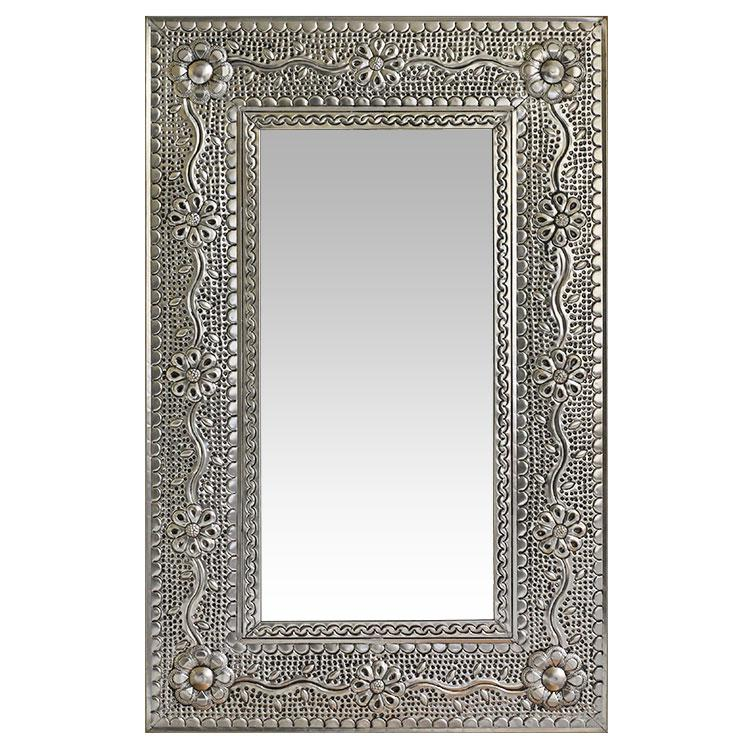 Small Flower & Vines Tin Mirror - Natural Finish