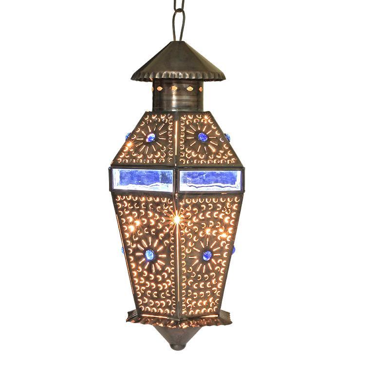 Tin Lantern Blue Glass Product Photo