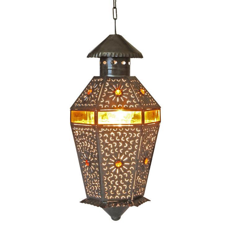 Tin Lantern Amber Glass Product Photo