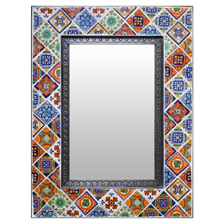 Talavera Tile Mirror - Oxidized Finish