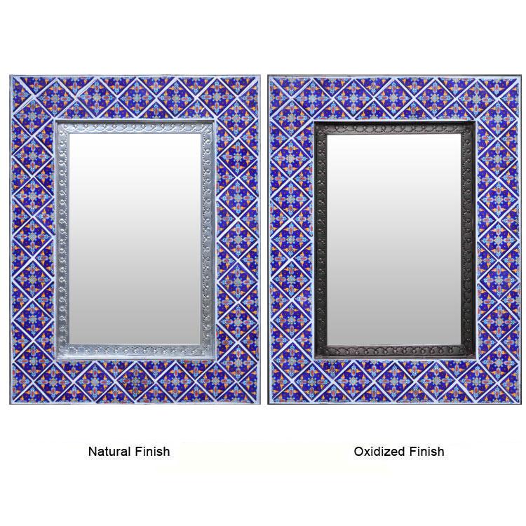 "Large 22x16"" Mexican Folk Art Punched Tin Talavera Tile ... |Talavera Mirror"
