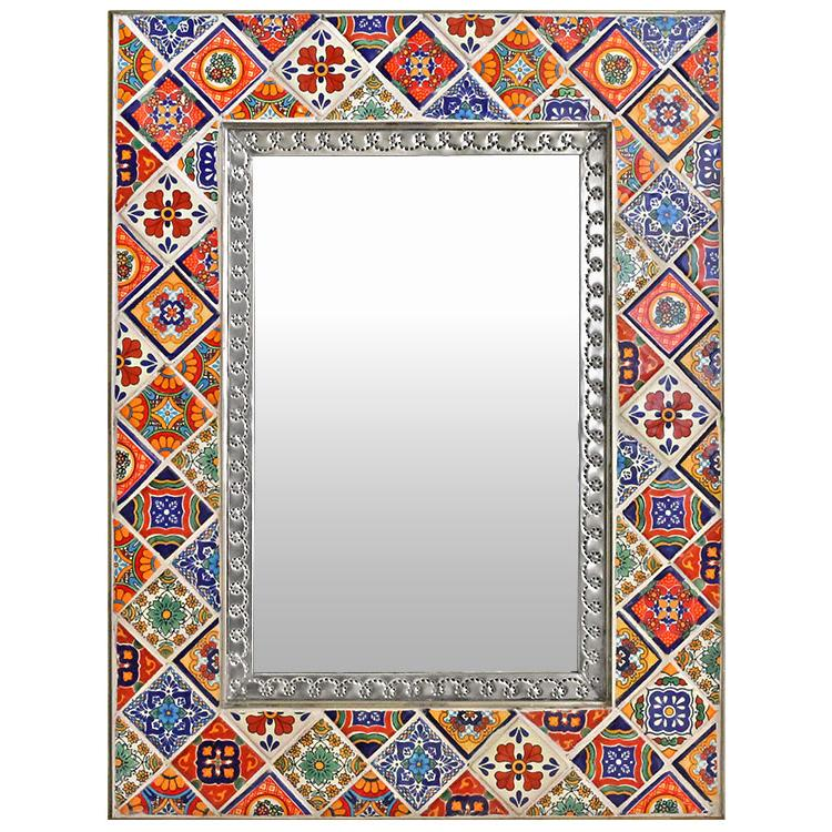 Talavera Tile Mirror - Natural Finish