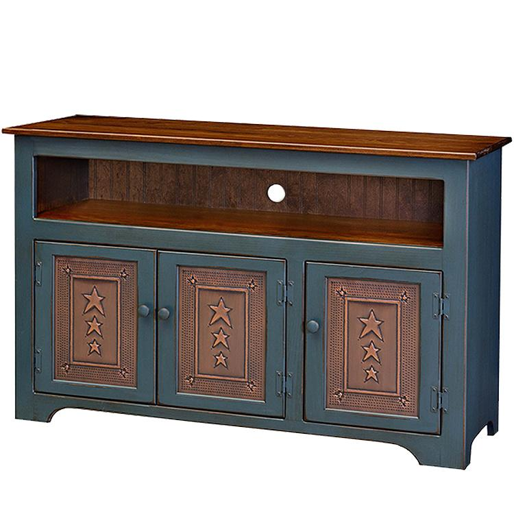 Door Country Tv Stand Tin Panels Country Blue Cherry Product Photo