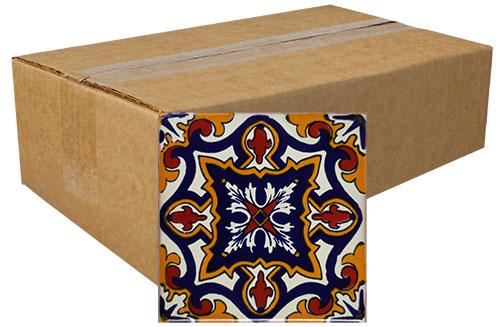 Diamante Michoacana Hand-Painted Talavera Tiles (Box of 40)