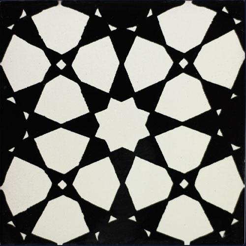 Estrella Abstracto Negro Hand-Painted Talavera Tile