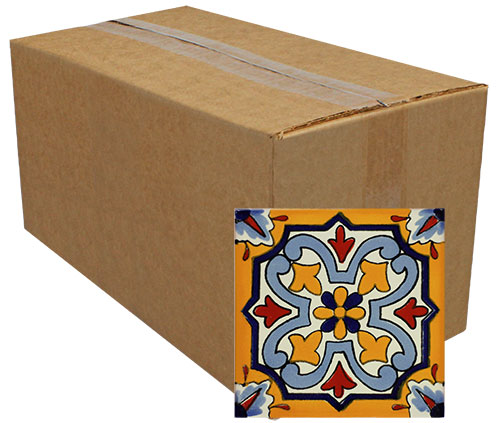 Mandarino Amarillo Hand-Painted Talavera Tiles (Pack of 25)