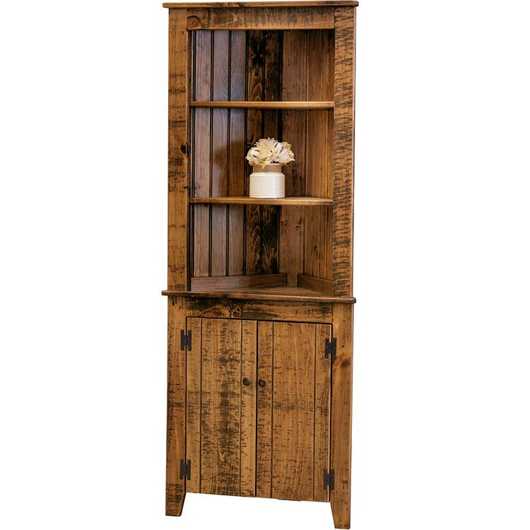 Corner Cupboard w/ Hutch - Tobacco
