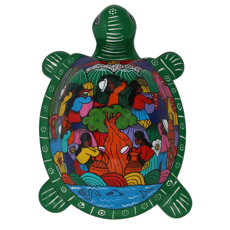 Hand Painted Clay Large Green Turtle Box