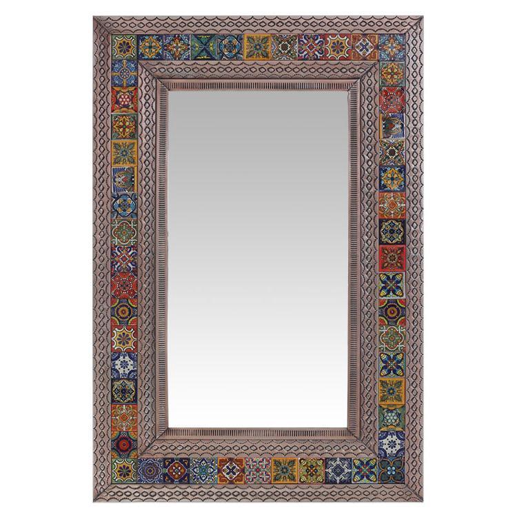 Large Talavera Tile Mirror - Oxidized Finish