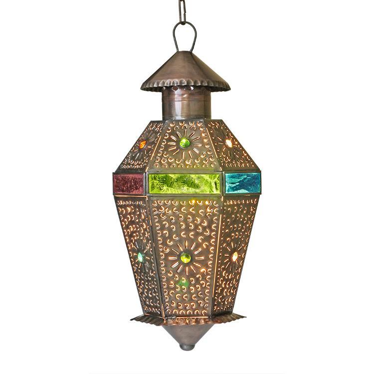 Tin Lantern Multicolored Glass Product Photo