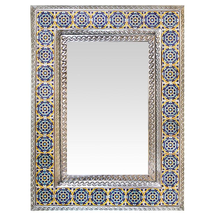Medium Talavera Tile Mirror - Natural Finish