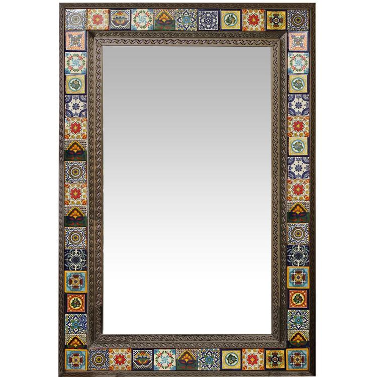 Extra Large Talavera Tile Mirror Frame - Oxidized Finish