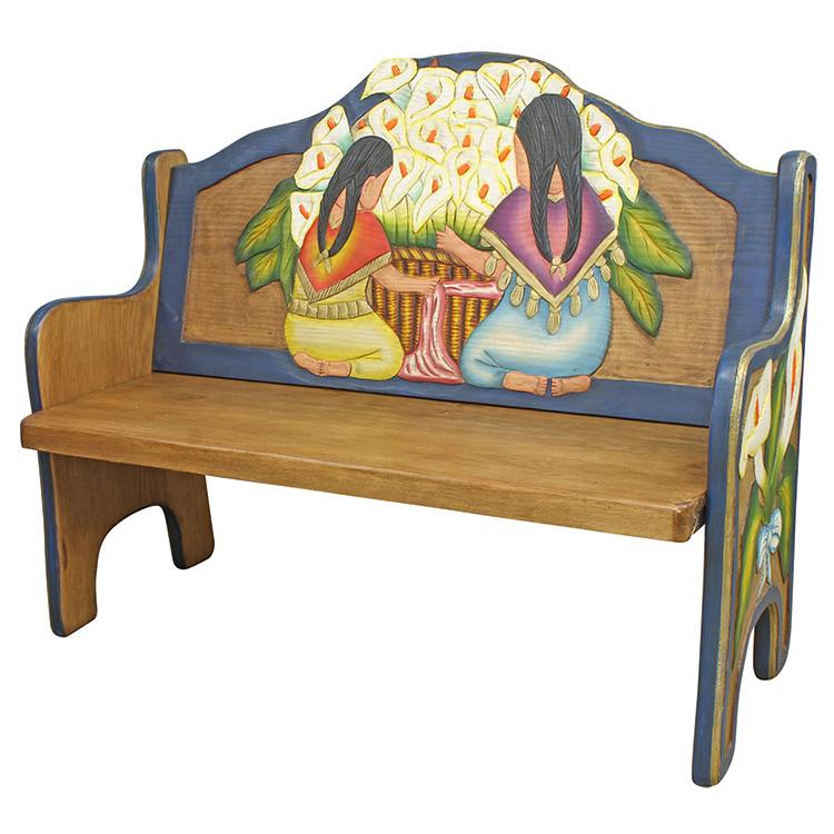 Rustic Carved Triple Bench Product Photo