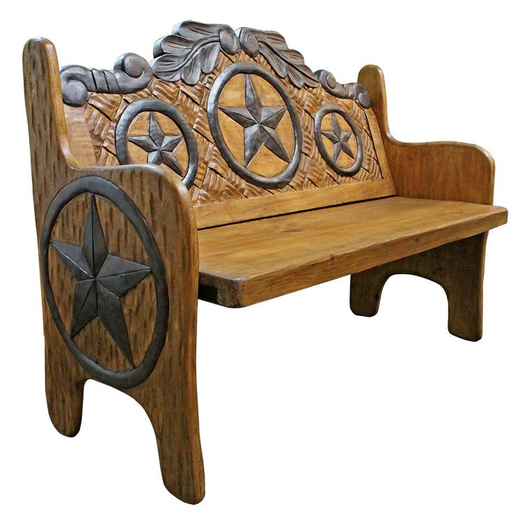 Rustic Woven Carved Double Bench Product Photo