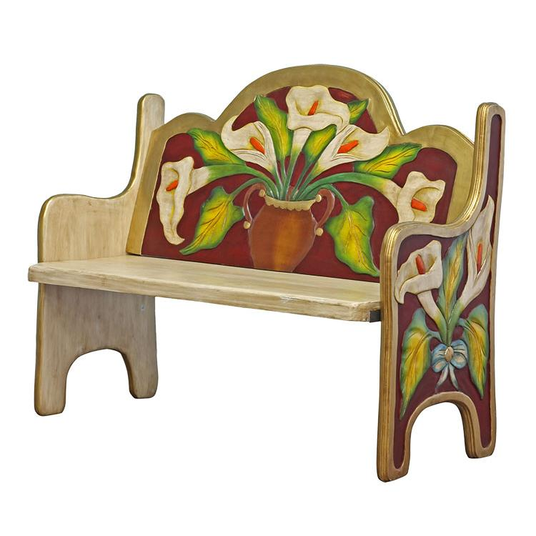 Rustic Maroon Carved Double Bench Product Photo