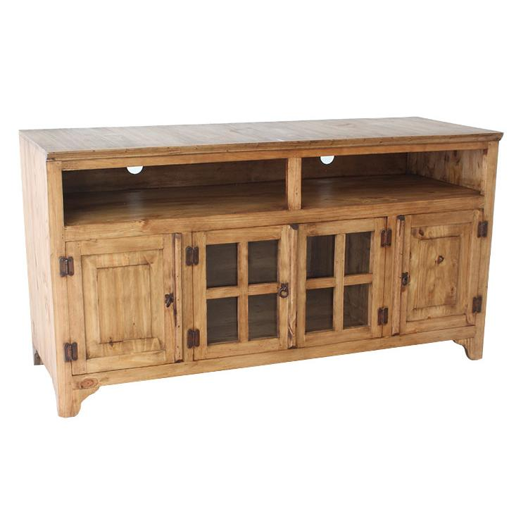 Rustic Pine Tall Narrow Tv Stand Product Photo