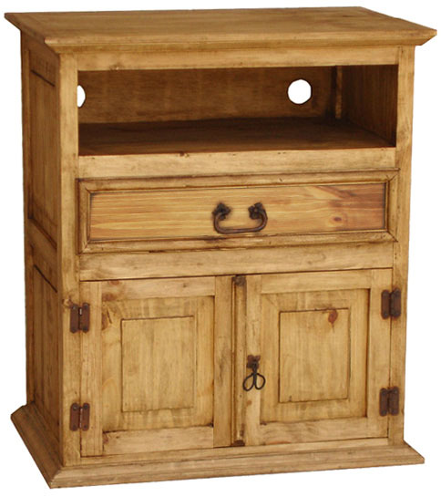 Mexican Rustic Pine Liso TV Stand with Drawer