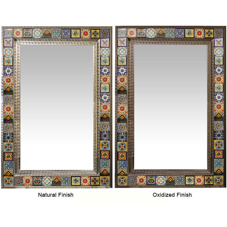 3 HIGH RELIEF  Mexican Ceramic Number Tiles /& Horizontal Iron Frame