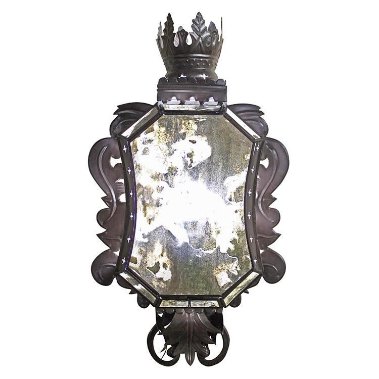 Tin Wall Sconce Antiqued Glass Product Photo