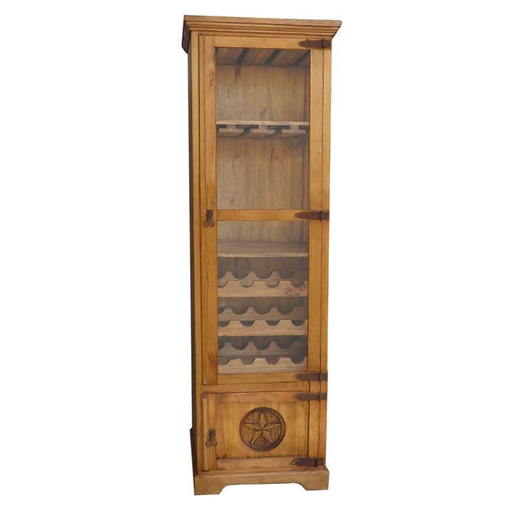 Mexican Rustic Pine El Paso Star Wine Cabinet