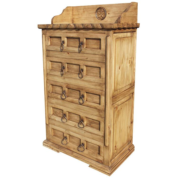 Rustic Pine Collection Tall Mansion Star Dresser Com506