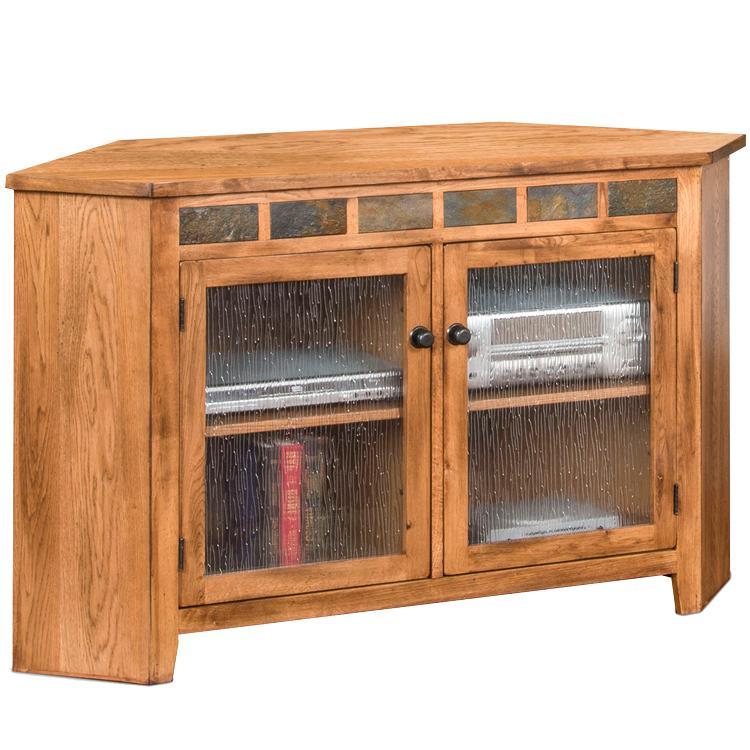 Rustic Oak Corner TV Console