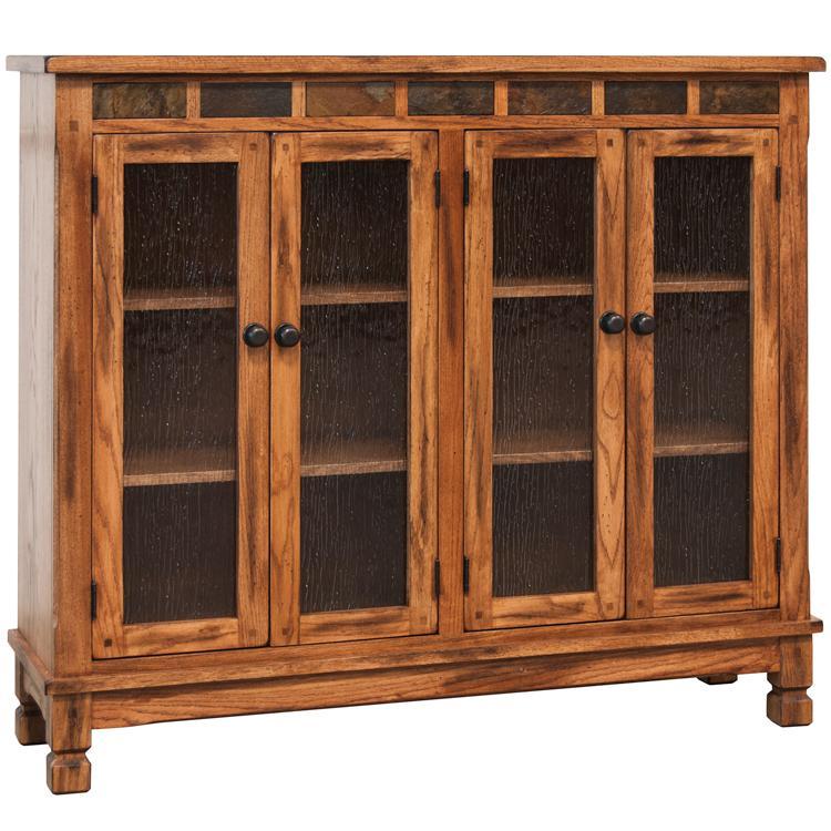 Rustic Oak & Slate Bookcase Console w/ Doors