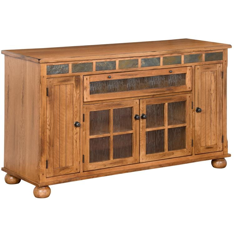 Rustic Oak Slate Counter Tv Console Product Photo