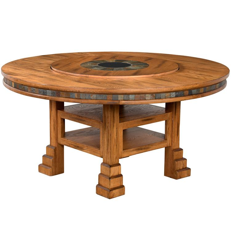 Rustic Oak Slate Adjustable Dining Table Product Photo