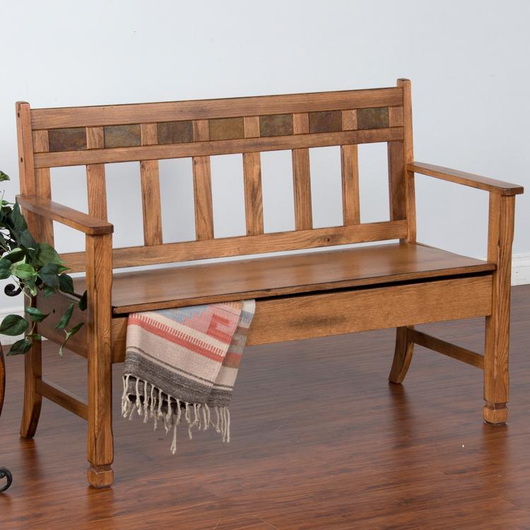 Genial Rustic Oak Deaconu0027s Bench W/ Storage