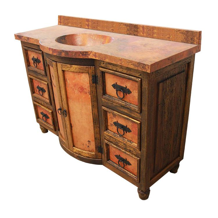 Curved Six Drawer Vanity Copper Top Copper Sink Vine Panels Product Photo