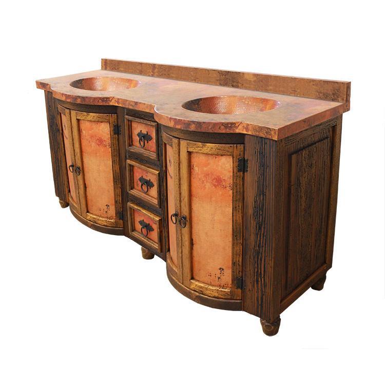 Curved Door Vanity Copper Top Copper Sinks Vine Panels Product Photo